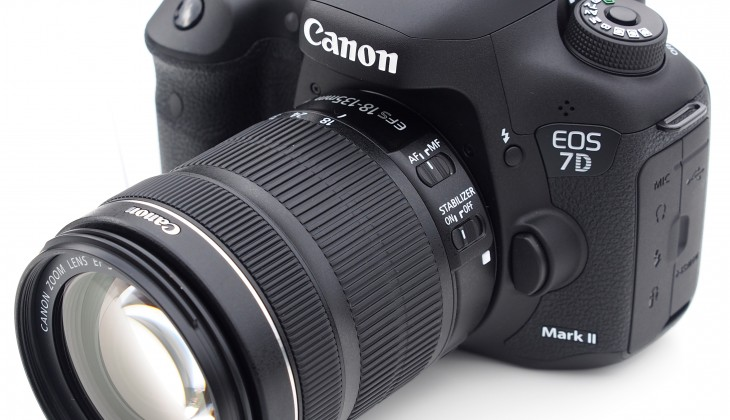 A view of the Canon EOS 7D Mark II with lens