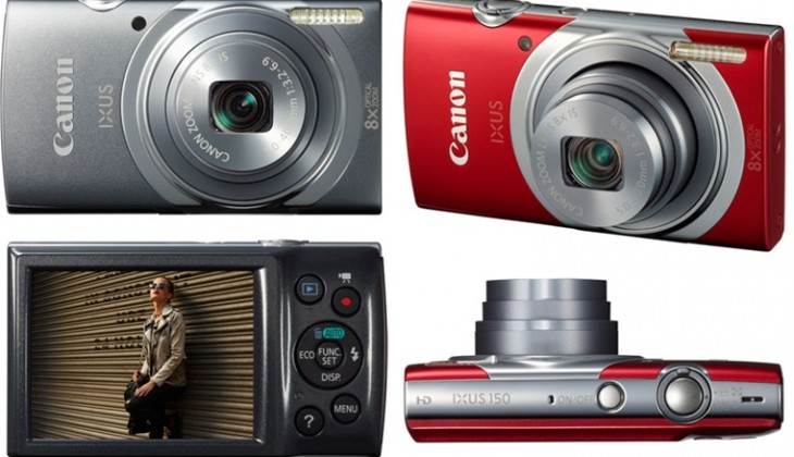 The Canon Ixus 150, in red and grey
