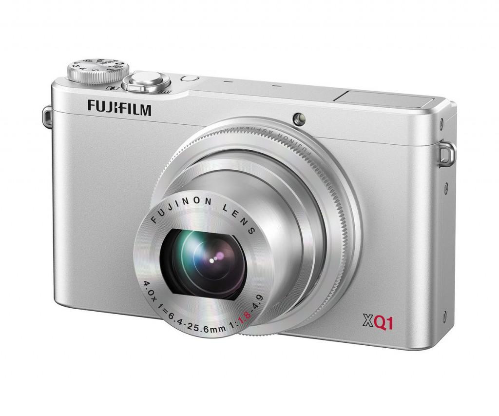 The Fujifilm XQ1camera in silver