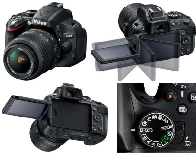 The Nikon D5100 in various angles.