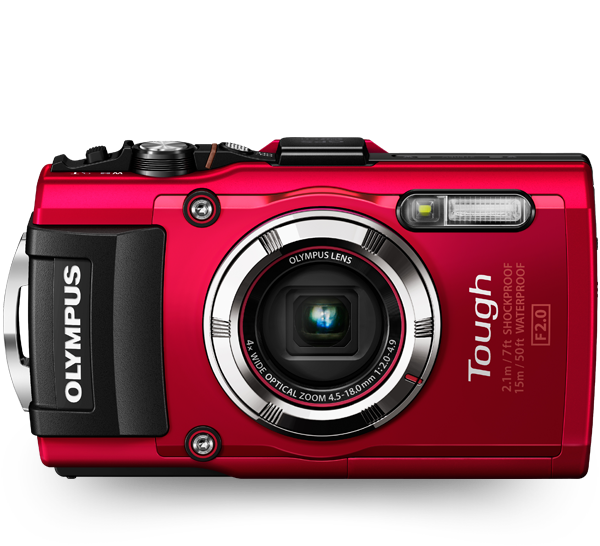 The Olympus-TG-3-tough camera in red