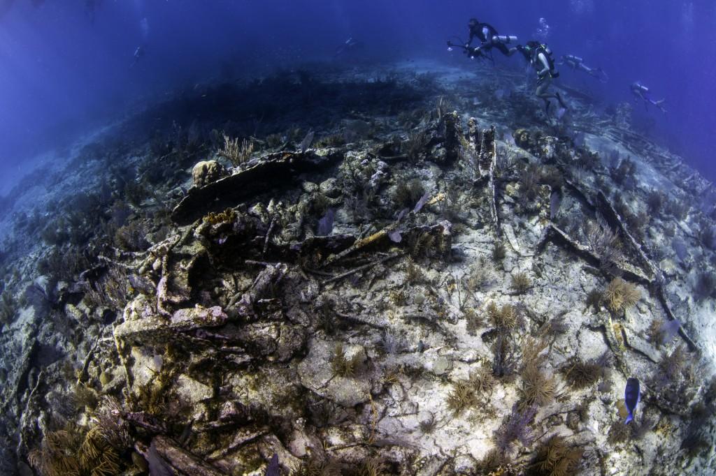 Underwater fisheye photo of the City of Washington Wreck