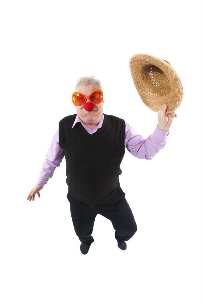 funky fisheye portrait of an elderly man