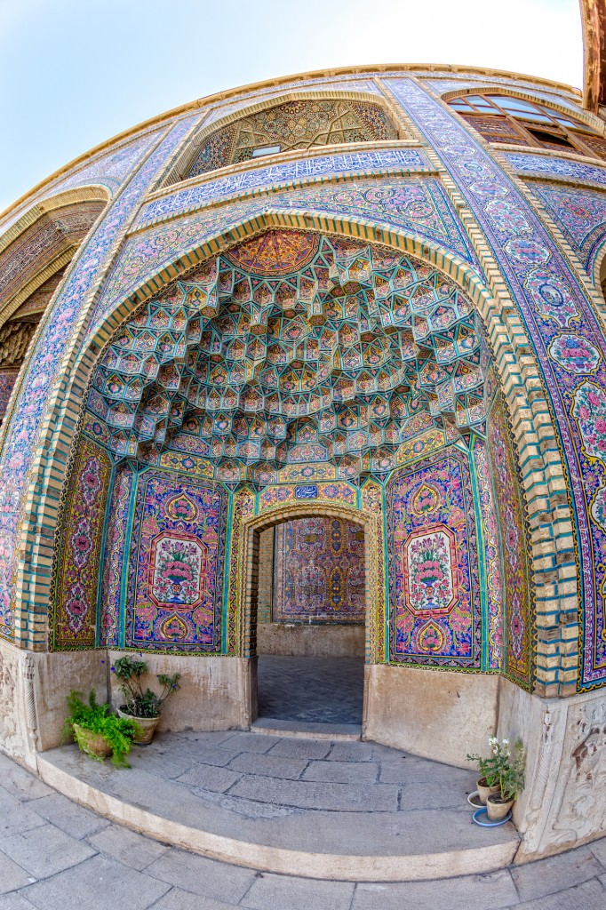 fisheye photography example of a beautiful mosque in Shiraz
