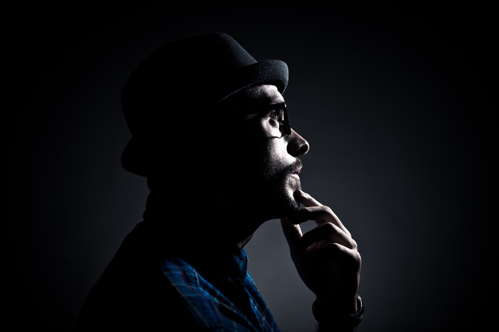 low key lighting man portrait