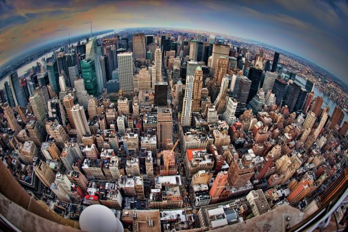 new york cityscape fisheye