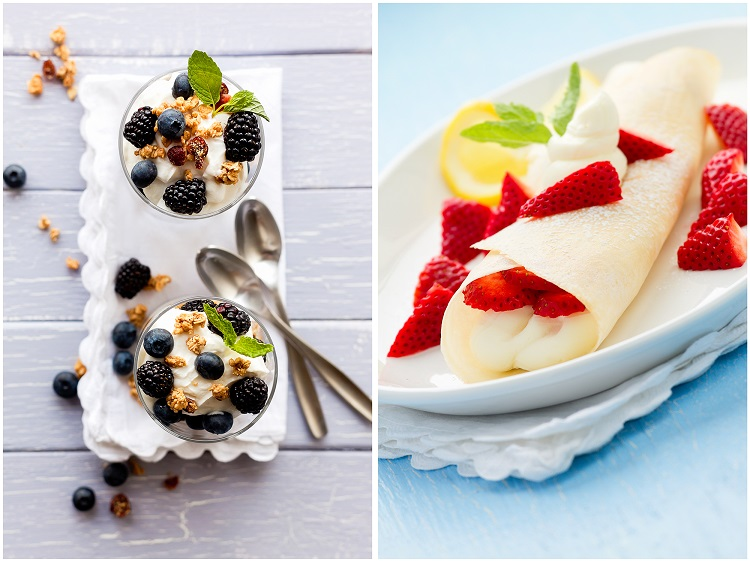 food photography fruits with yogurt and crepes with strawberries