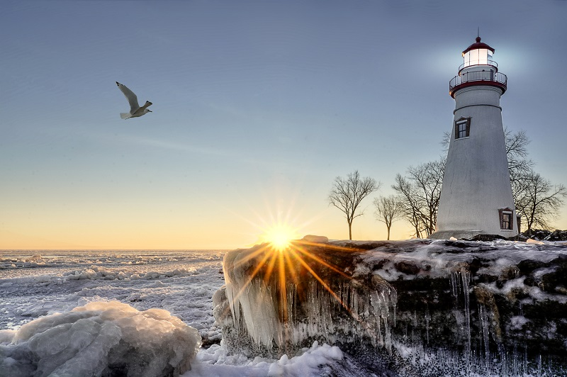 lighthouse wintertime freozen sea