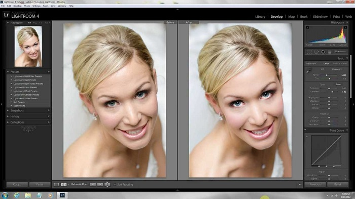 editing a picture of a bride