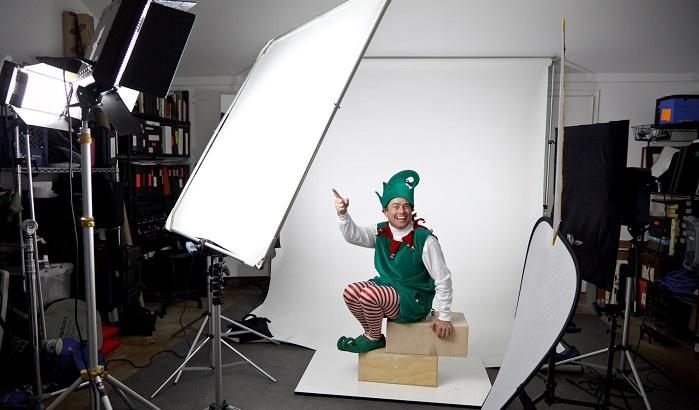 santa's helper in a photography studio