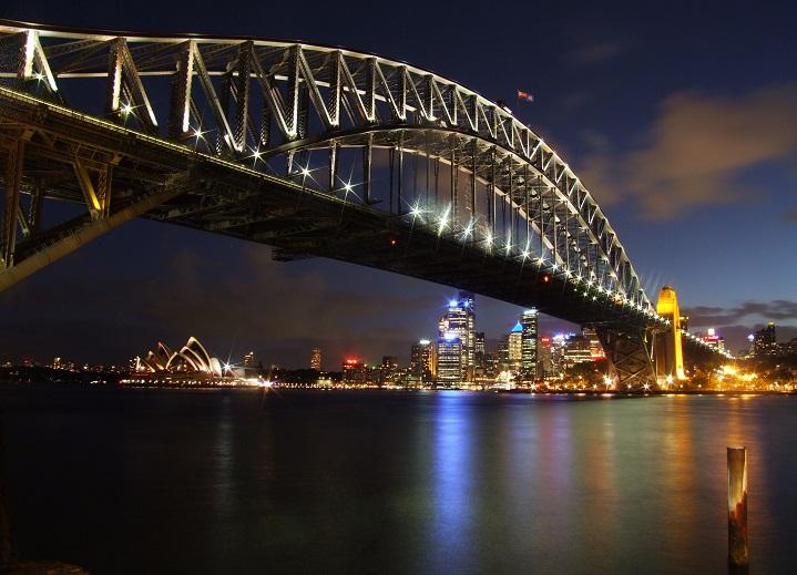 night photography of a bridge