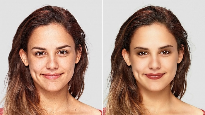 before and after editing photos of a woman