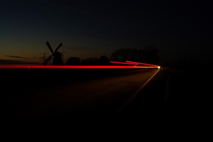 car lights dark long exposure