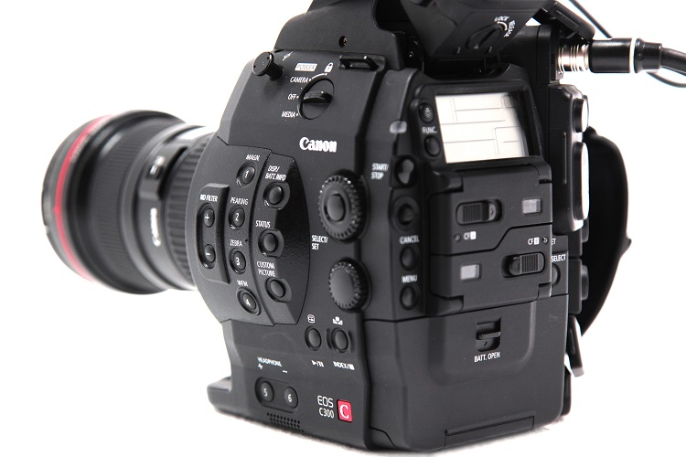back and side view of the Canon EOS C300