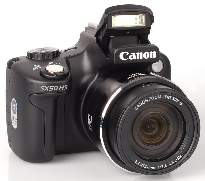 Canon Powershot SX50 HS with the flash open