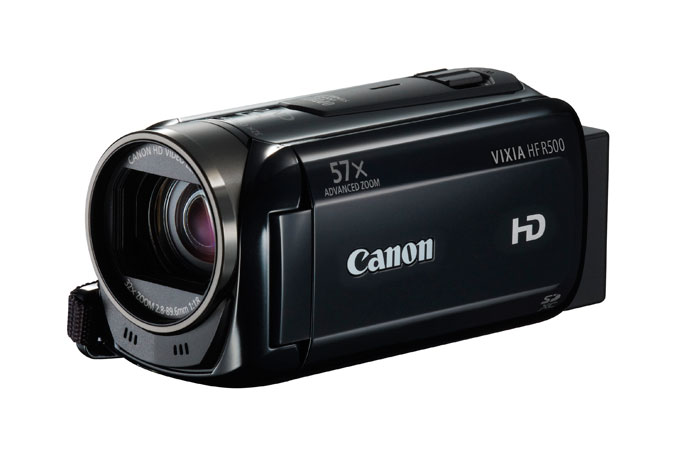 front and side view of the Canon VIXIA HF R500