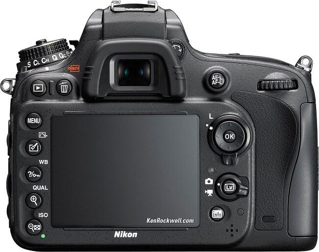 Nikon D610 display