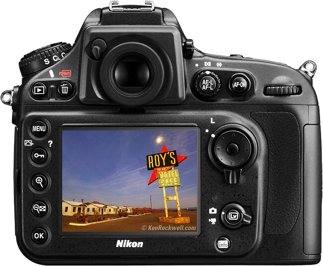 Nikon D800 display