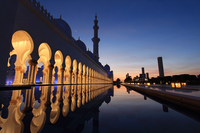 mosque after sunset