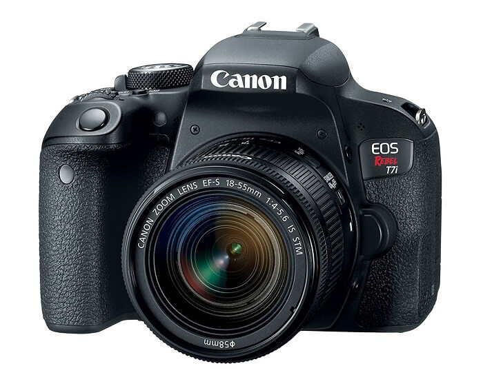 Canon EOS REBEL T7i body and lens